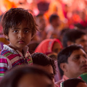 Above the Crowd by Romney Olsen - People Street & Candids ( natural light, color, india, holi, boy, crowd, eyes, Travel, People, Lifestyle, Culture )