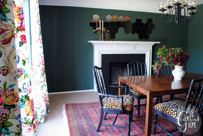 dining room updates floral curtains28