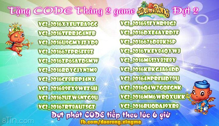 TẶNG VIP CODE THÁNG 2 ĐỢT 2 Đây là đợt phát code