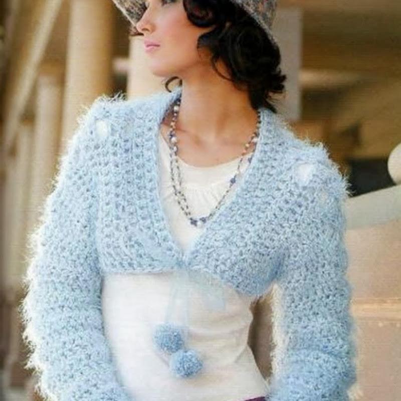 Bolero Celestial con Pelos de Seda de Crochet