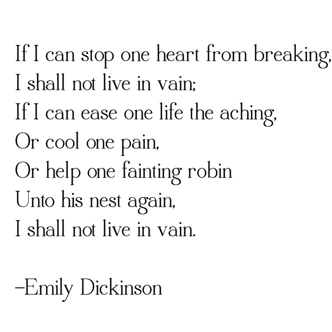 if I can stop one heart -- dickinson