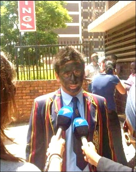 BLACK PAINT PROTEST BY AFRIFORUM YOUTH AGAINST RACIST ADMISSION POLICIES AT UNIVERSITY