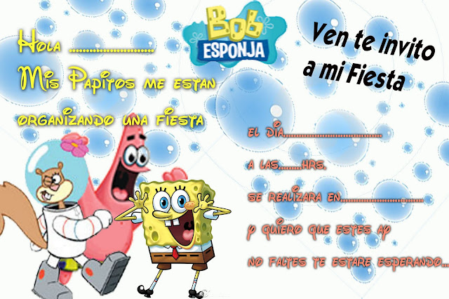 Invitaciones De Cumpleaños Bob Esponja