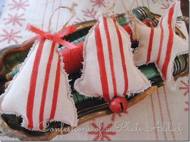 CONFESSIONS OF A PLATE ADDICT DIY Grain Sack Ornaments