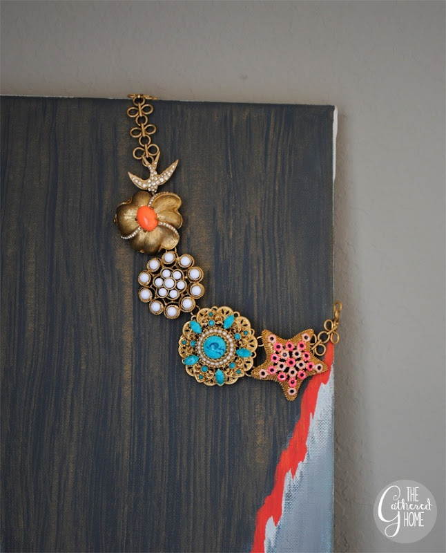 Stella and Dot necklace on a DIY painting