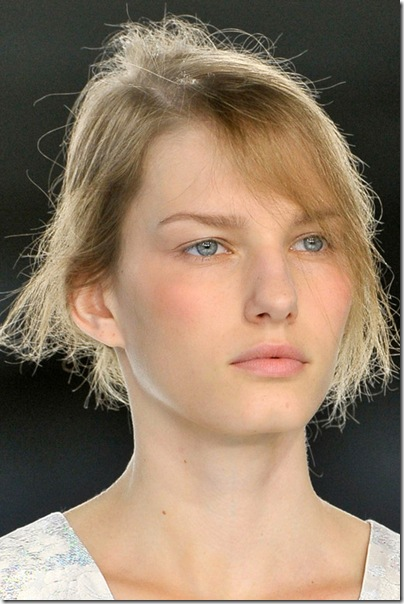Rosy apricot cheeks at Christopher Kane