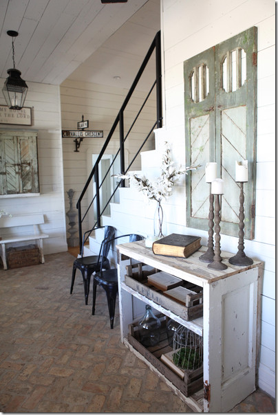 Inside Joanna Used Her Favorite Brick Floors In The Entry Along With White Shiplap Walls And Ceiling Floor Are Two Of