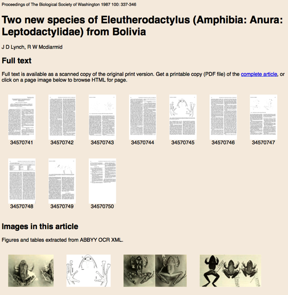 iPhylo: Towards BioStor articles marked up using Journal