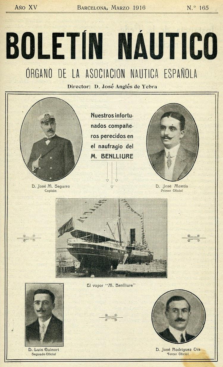 Portada de la revista Boletín Náutico, de marzo de 1.916. Órgano de la Asociación Náutica Española.jpg