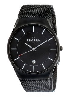 Skagen Mens Black Titanium Mesh Strap Watch