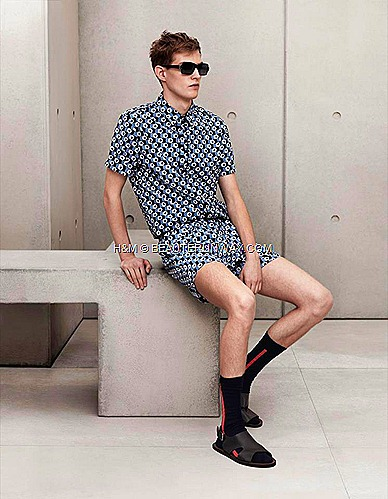 Marni H&M Mens Printed shirt, Swim Shorts, Sunglasses, Mens Sock, Mens Black Leather Sandals