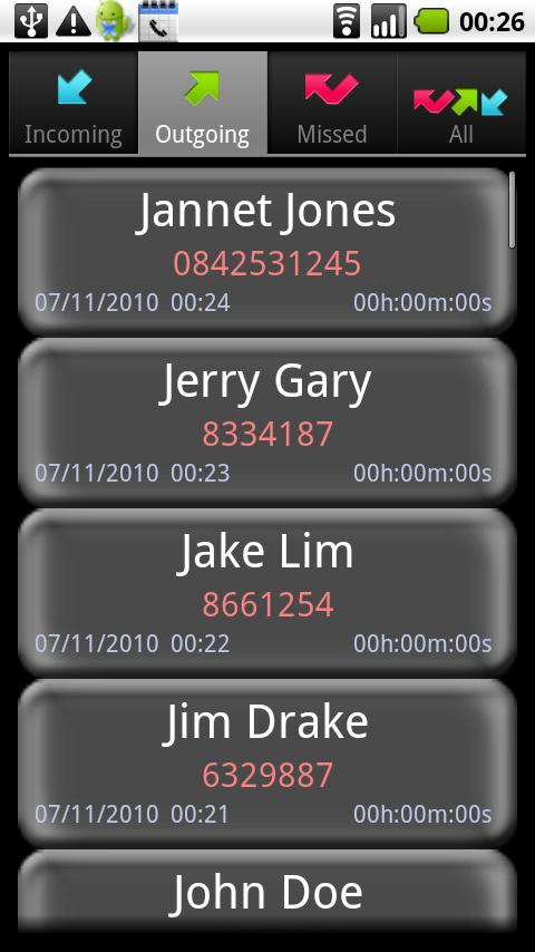 A Simple Call Log - screenshot