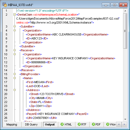 XML Output from HIPAA example