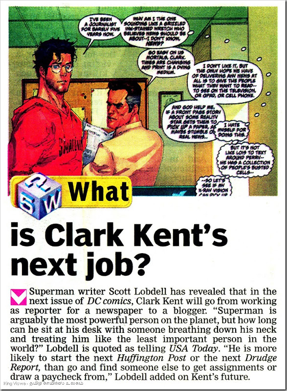 Deccan Chronicle Daily Chennai Edition Chennai Chronicle Page No 23 Dated Thursday 25th Oct 2012 What is Clark Kents Next Job