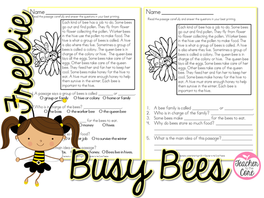 Busy Bees Freebie From Teacher to the Core- Enjoy