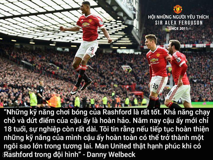 Welbeck: United thật hạnh phúc khi có Marcus Rashford trong đội hình.