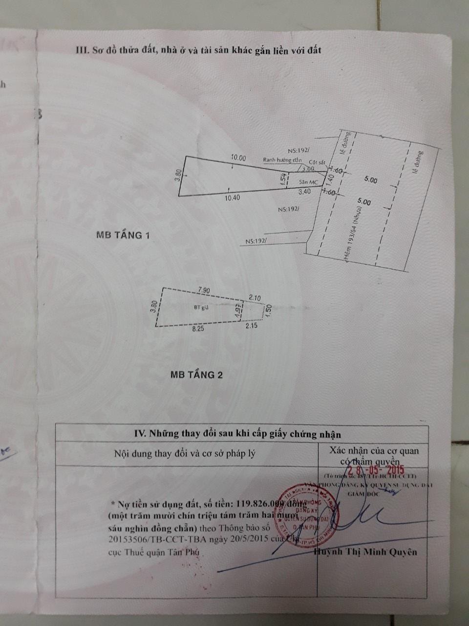 Bán nhà hẻm ô tô Phú Thọ Hòa Quận Tân Phú 3