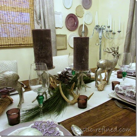 Christmas Tablescape Roaming Deer @ Rustic-refined.com