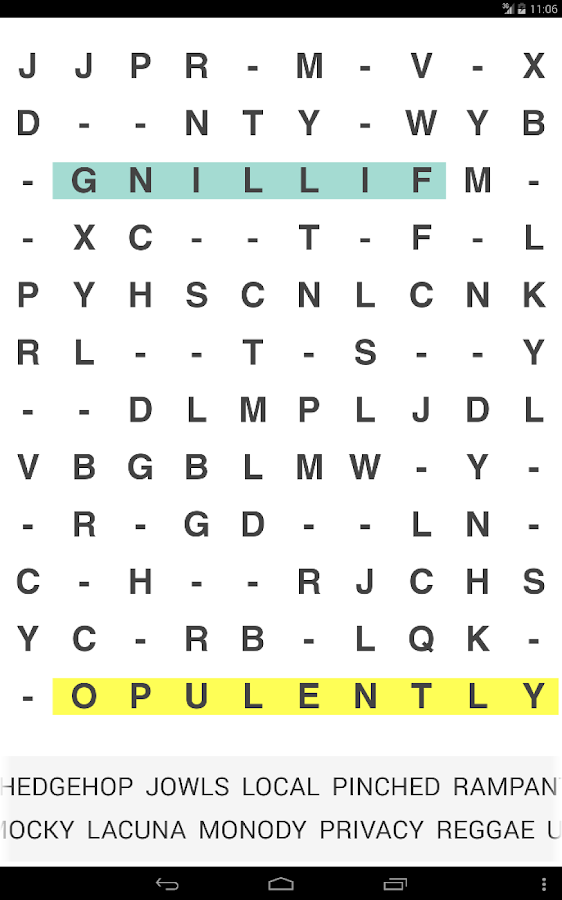 Word Search Missing Letters