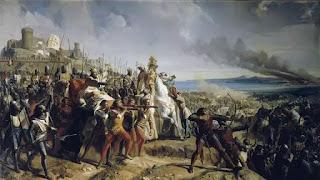 Cảnh Vua hủi Baldwin được khiêng trên cáng chỉ huy quân lính đánh bại Saladin.