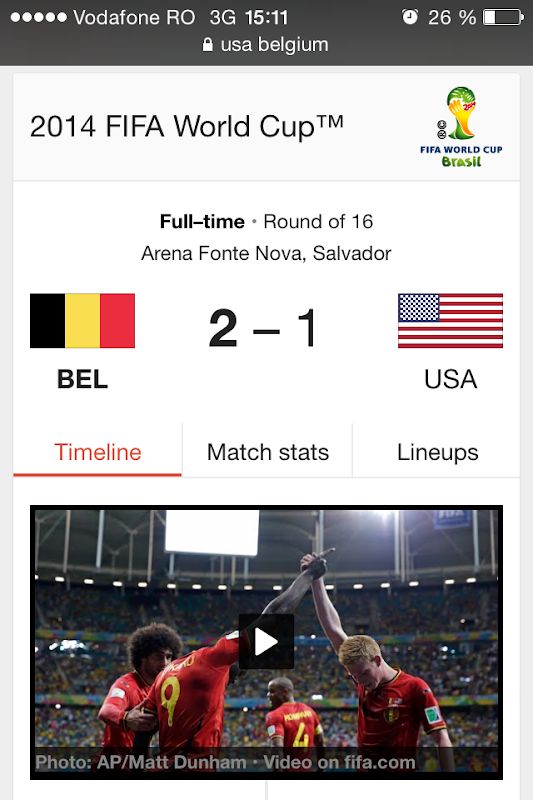 Google FIFA World Cup One Box USA vs Belgium on mobile