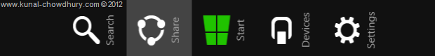 Share Option in Windows 8 Charm Bar