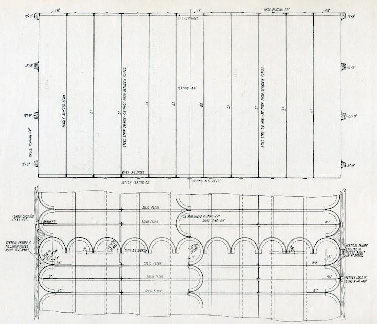 Sección transversal y plano del mamparo corrugado Smith-Cameron. Foto de la revista THE SHIPBUILDER. Num 123. Noviembre de 1920.jpg