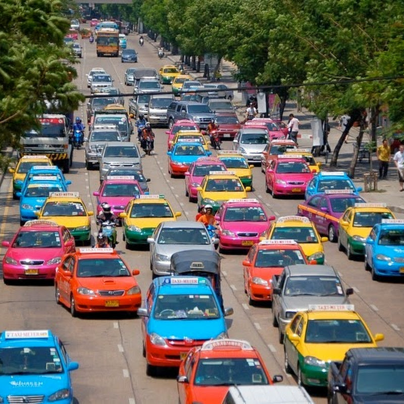 Bangkok's Multi-Colored Taxis