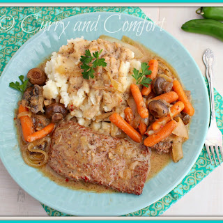 Slow Cooker Steak in Mushroom Gravy.