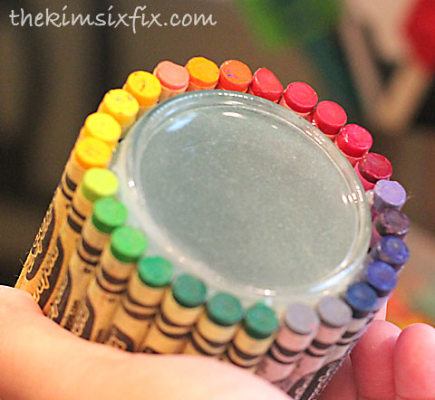 Crayon around jar