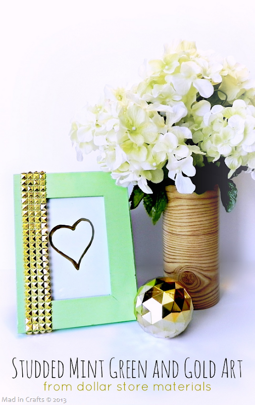 Studded Mint Green and Gold Art