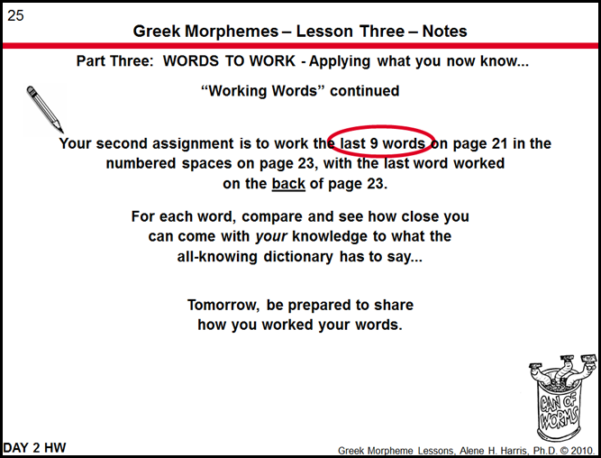 Greek Morphemes Lesson 3 Words to Work