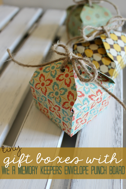 Tiny Gift Boxes with We R Memory Keepers Envelope Punch Board at GingerSnapCrafts.com #wermemorykeepers #spon