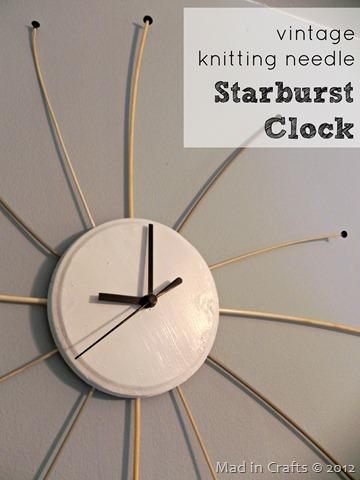 starburst clock made from knitting needles