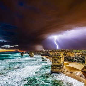Sunset at the 12 Apostles by Craig Eccles - Landscapes Weather ( thunder, lightning, thunderstorm, sunset, weather, sunrise, storms, lightning strike., storm,  )
