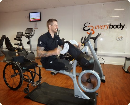 Joe Townsend gives a demonstration of the Matrix Fitness equipment