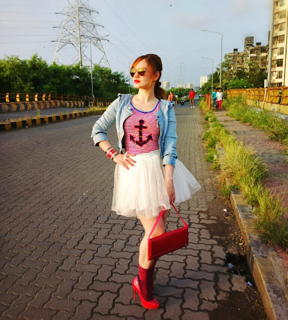Denim Jacket with a Tulle Skirt