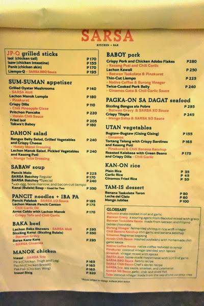 Sarsa Kitchen And Bar Menu