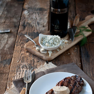 Beer Marinated Steak with Porter Gorgonzola Butter
