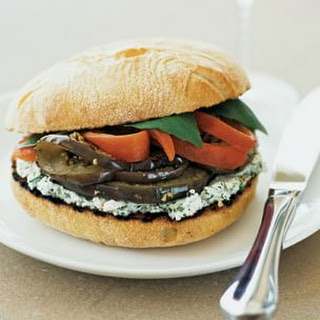 Grilled Eggplant, Red Pepper and Herbed Goat Cheese Sandwiches