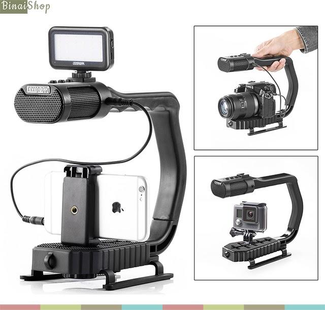 Tay cầm chống rung tích hợp micro cho quay phim động