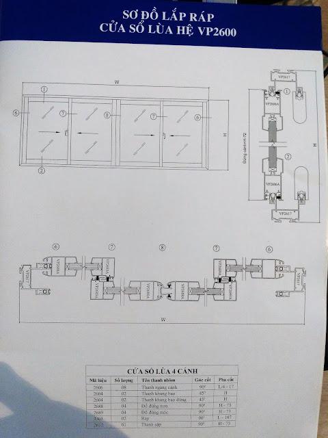 Kết cấu cửa sổ lùa hệ 2600-03