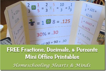 fractions, decimals, and percents mini office printables @http://homeschoolheartandmind.blogspot.com