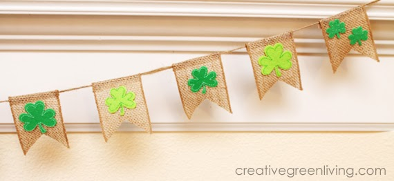St Patrick s day decor  burlap and shamrock banner