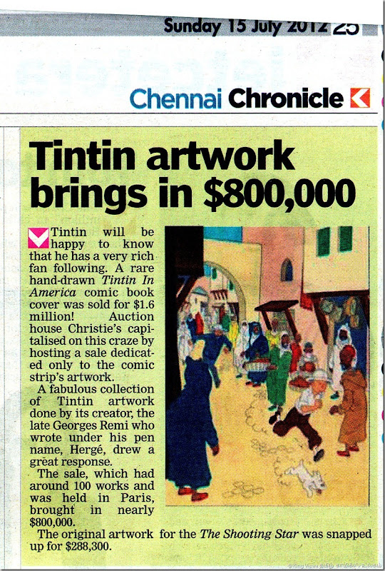 Deccan Chronicle Chennai Edition Chennai Chronicle Dated 15072012 Page No 25 TinTin Original Artwork Sale Article