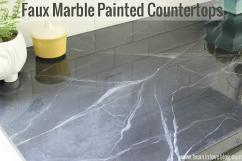Tutorial on faux marble painted countertops