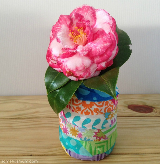 Scrap Fabric Glass Jar Project