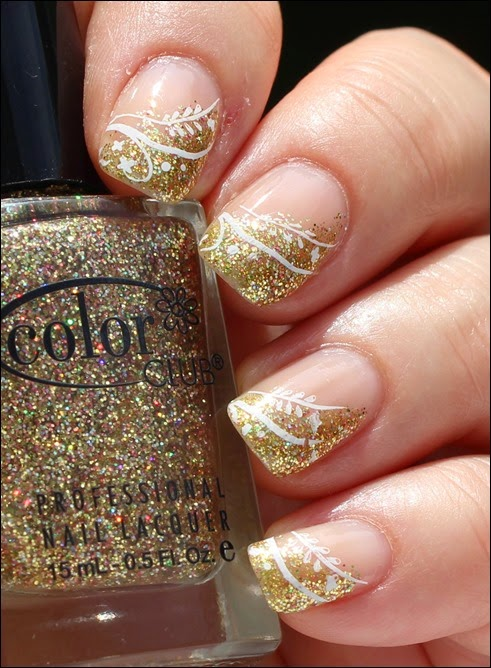 Festive Nailart Gold Glitter Stamping French 00