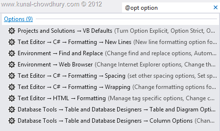 Visual Studio 2012 Quick Launch - Search for Options