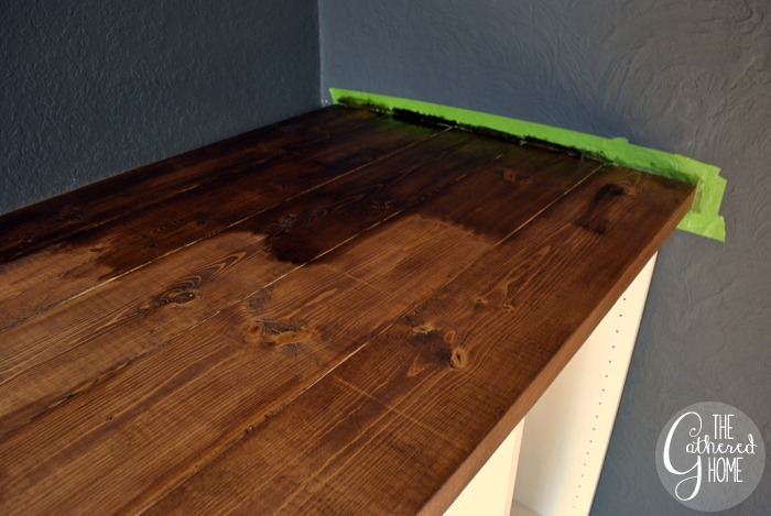 How To Make DIY Ikea Hack Desk with Plank Top and Copper Pulls: Varathane Dark Walnut Stain